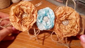 Как сделать винтажные цветочки из кальки своими руками