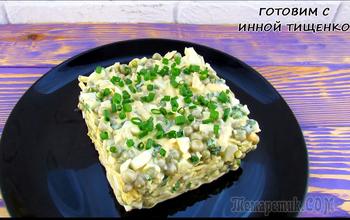 Вкусный салат за 5 минут из яиц, сыра и горошка (видео-рецепт)