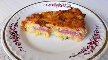 Запеканка из овощей с кабачками и колбасой