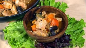 Овощное рагу с мясом и баклажанами