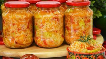 Кабачки с рисом на зиму. Три в одном: салат, закуска и гарнир. Зимой всегда выручает!
