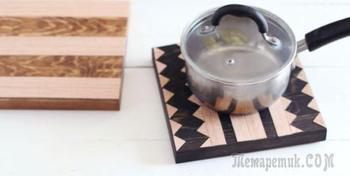 Деревянные подставки под горячее с геометрическим узором