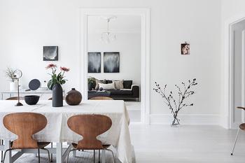 Царство белого: трехкомнатная квартира в Гетеборге