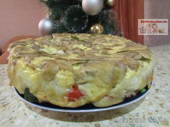 Многослойный заливной пирог