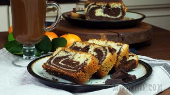 Мраморный кекс с горячим шоколадом