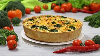 """Пирог """"Киш лорен"""" с курицей, брокколи и сыром (Вкуснейший Французский открытый пирог!)"""