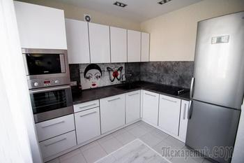 Красные мотивы кухни в черно-белом фоне