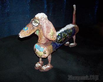 """Такса Романтик - моя первая работа в стиле """"папье маше"""", а также контурно-точечная работа на картинках """"Волшебные собаки на дисках"""""""