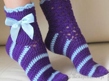 Как связать крючком носки — способы: схемы, описание