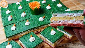 Праздничная закуска с сельдью Светофор.Секрет яркости овощей