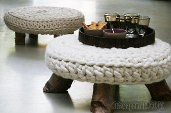 Оригинальные фото идеи вязанной мебели в интерьере