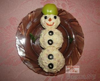 Новогодний салат «Снеговик»