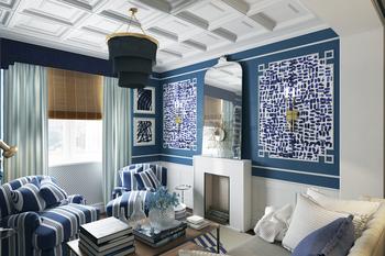Гостиная в стиле «американская классика» в доме П44-Т