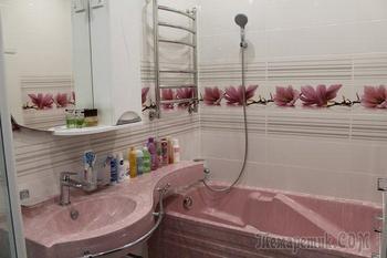 Моя ванная: сантехника в розовом камне