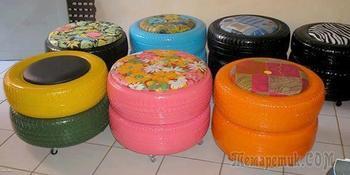 Пуфики и журнальные столики из резиновых шин
