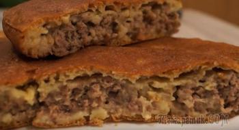 """Пирог с мясом """"Легче не бывает"""" за 10 минут плюс время на выпечку."""