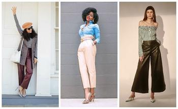 Тренд сезона: широкие кожаные брюки