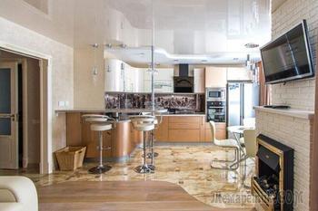 Фото интерьера 2-комнатной квартиры в бежевых тонах