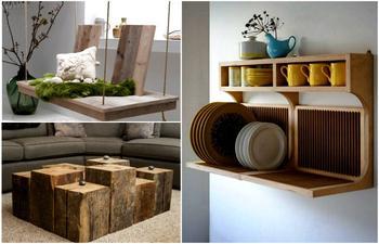 Деревянная мебель и предметы декора для создания теплого и уютного интерьера
