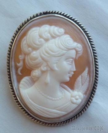Камея на ракушке, серебро (брошь - кулон).