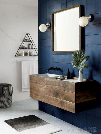 Синяя ванная комната: 75 элегантных интерьеров в холодных тонах