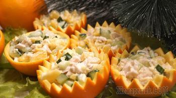 """Салат """"Корзинки-Апельсинки"""" Настоящее украшение Новогоднего стола."""