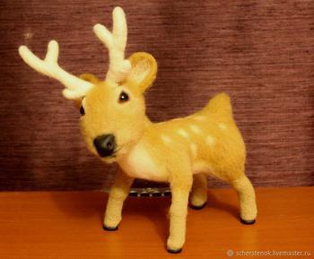 Создаем новогоднего оленя из шерсти своими руками
