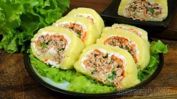 Салат-рулет овощной с горбушей