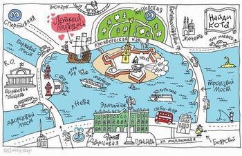 Загадка на внимательность: а вы найдете кота на карте Санкт-Петербурга