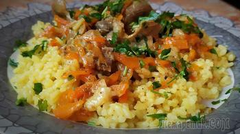 Ужин. Рис с подливой из куриных пупков