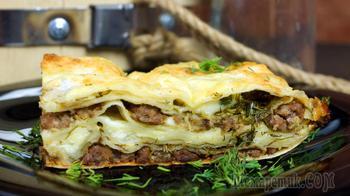 Пирог слоёный с лавашем и мясной начинкой