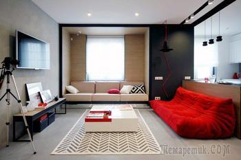 Фото современного дизайна квартиры в черно-бело-красном цвете