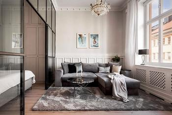 Спальня за стеклом и большая обеденная: квартира в Швеции (72 кв. м)