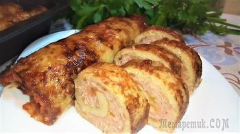 Рулеты из картофеля с мясом и сыром запеченные в духовке.