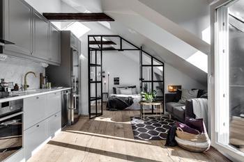 Прекрасная мансардная квартира в Швеции