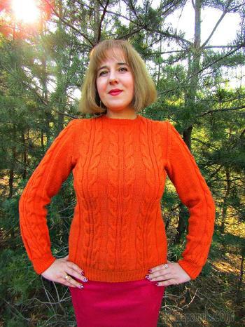 Женский свитер с косами. Подробный видео-урок вязания свитера.