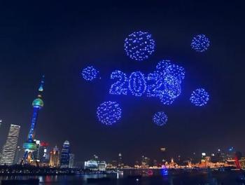 В Шанхае вместо новогодних фейерверков использовали дроны