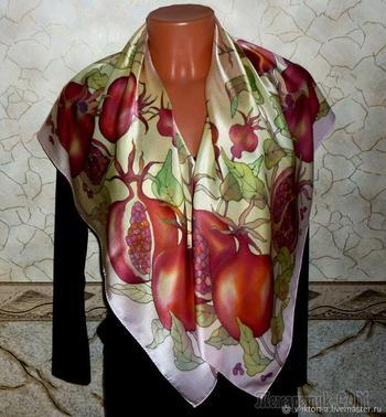Создаем «Гранатовые фантазии»: платок в технике холодного батика
