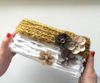 Плетение из газетных трубочек. Простая плетеная корзинка своими руками