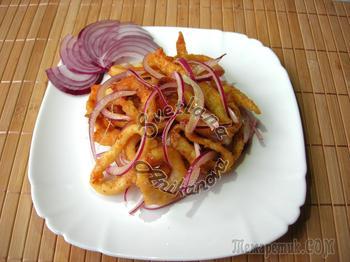 Мой любимый салат с кальмарами. Оригинальная заправка к салату!