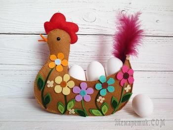 Шьем пасхальную курочку с цветочным декором