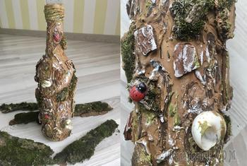 Декор бутылки шпаклевкой своими руками