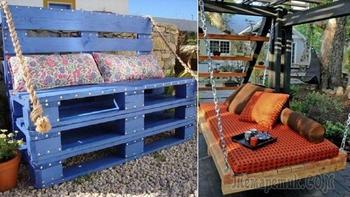 20 идей, как обустроить дачный участок при помощи деревянных поддонов