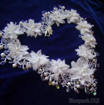 """Создание колье """"Свадебные цветы"""""""