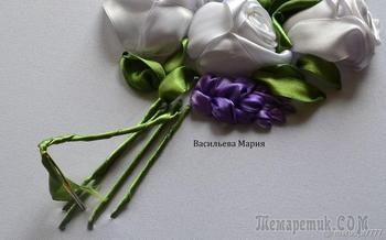 Вышиваем лентами «Букет белых роз»