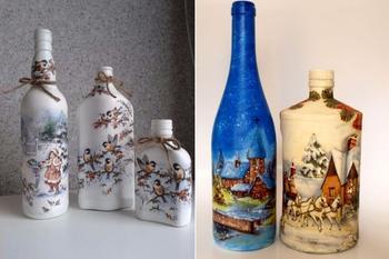 Оригинальный декупаж бутылок своими руками - пошаговый мастер-класс
