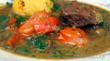 Бозбаш с мясом в казане. Наваристый Бульон с говядиной и овощами