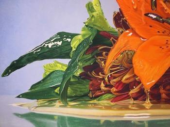 Реалистичные масляные рисунки цветов, залитых мёдом
