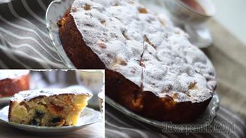 Яблочный пирог с изюмом и курагой в духовке