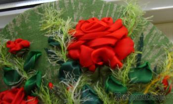 Розы - вышивка лентой